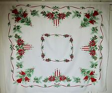 Vintage Christmas 1940'S/50'S Printed Tablecloth Bells, Candles,Holly, Pine