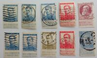 BELGIUM, CLASSIC LOT OF 10 USED STAMPS, VARIETIES, FREE SHIPPING!!!