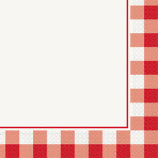 16 x Red Gingham Napkins 33cm 2ply Adults Birthday Tableware Supplies Check
