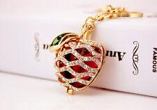 Silver Apple Rose Flower Petal Diamante Bag Charm Handbag Keyring Pendant