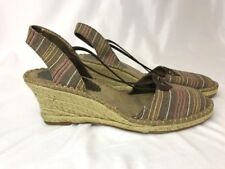 Soft Style Hushpuppies Striped Espadrilles Red Brown Sandals Wedge Heels Women 9