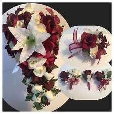 White burgundy Tiger Lily Wedding Bridal Bouquet Package Boutonniere Corsage