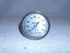 "REOPTEMP Bimetal Thermometer 50 - 550 F 12"" Stem Model A 3"" Back/Reset Hex Bush"