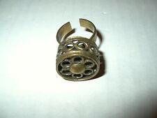 Vintage Artisan Brasstone Flower Circles Brutalist Modernist Adjustable Ring
