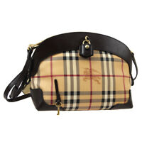 BURBERRY Check Pattern Cross Body Shoulder Bag Dark Brown PVC Leather M15095