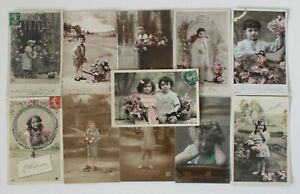 Antique French Postcards of Children x 11, Postally Used, Pre WWI