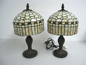 """Lot of 2 - 14"""" Vintage Tiffany Style Table Lamp Multi-Color Stained Glass"""