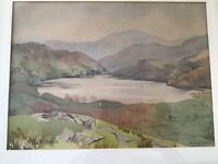 Vintage 19th century early 20th gilt framed original signed watercolour painting