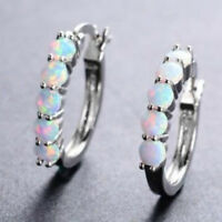 Women 925 Sterling Silver Ear Stud Huggie Hoop Earrings White Fire opal Paved