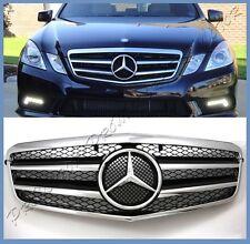 AMG Look As Shiny Black Mesh Front Grille Fit 10-13 W212 Benz E63 E250 E550 E350