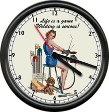 Personalized Custom Chopper Motorcycle Garage Repair Pinup Girl Sign Wall Clock