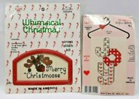 Lot 2 1990s NIP Counted Cross Stitch Christmas Ornament Kits + Frame Craft 6135F