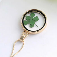 Elegant Four Leaf Clover Shamrock Real Flower Necklace Gold Plated Jewelry Lucky