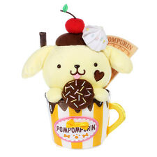 Sanrio Pom Pom Purin Stand Inside Chocolate Waffle Dessert Yellow Cup Plush Doll