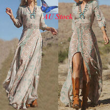 AU Women's Bohemian Floral Full Length Swing Dress Ladies V Neck Maxi Dress