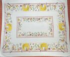 Vintage Breakfast Tea Party Yellow Pink Tablecloth 49x57 Cottage Core MCM 1950's