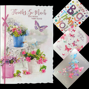 Thank you card Various Designs Butterflies Flowers Text Female Male FREE P&P