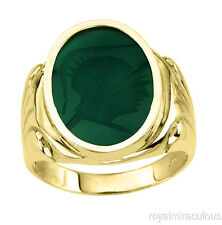 Quartz 14K Yellow Gold Mens Ring Hand Carved Green