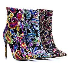 Women Shoes Stilettos high Heels Rhinestone Floral multicolor Sexy Ankle Boots
