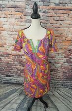 Trina Turk Short Sleeve Multi-Color Paisley SILK Stretch Casual Summer Dress 6