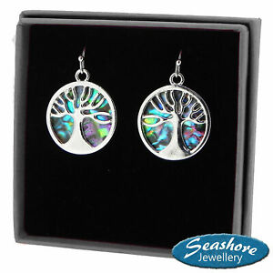 Tree of Life Earrings Abalone Shell Womens Silver Fashion Jewellery 24mm Drop