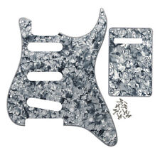 Set of Grey Pearl 4Ply Fender Strat Guitar SSS Pickguard 11 Holes and Back Plate