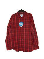Columbia Sportswear Hardy Ridge Long Sleeve Shirt Large Men New Red Plaid