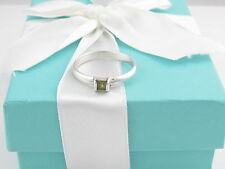 TIFFANY & CO SILVER GREEN PERIDOT RING BAND SIZE 10 BOX INCLUDED