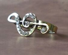 Treble Clef Rhinestone Double (2) Finger Ring Brass Knuckle Style Ring Women