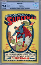 Superman #1 CBCS 9.4 (R) Origin by Siegel & Shuster, Superman Pin-Up Back Cover