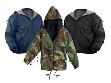 Black Navy Blue Camo Water Resist Tactical Reversible Fleece Lined Hoodie Jacket