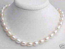 Beautiful 7-8MM white freshwater pearl rice necklace 18""