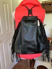Victoria's Secret Fringe Drawstring Backpack Black Tote Bucket Purse NWT