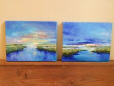 Pair of New Original Signed Oil Paintings Low Country Marsh Realism Landscape