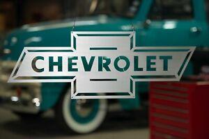Chevrolet Bowtie Sign, Vintage Design, Stainless Steel, Americana