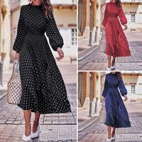Mode Femme à Pois Asymétrique Casual en vrac Manche Longue Robe Dresse Plus