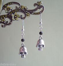 Deathshead Skull and Black Bead Drop Earrings - Biker Goth Pirate
