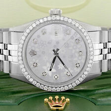 Rolex Datejust 36mm Steel Jubilee Watch with Silver Flower Dial & Diamond Bezel