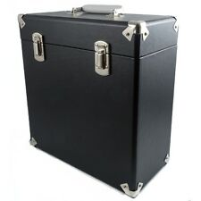 "GPO Vinyl Album Case Records 12"" LPs Storage DJ Flight Box with Lid - Black"