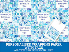 Personalised Happy 80th Birthday Wrapping paper - Male Blue 80th Gift Wrap
