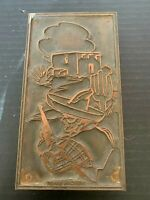 Vintage Copper on Wood Letterpress Mexican Bandit Printing Block
