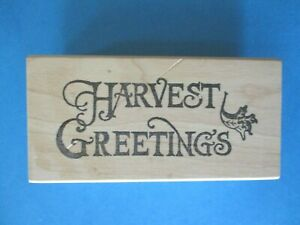 HARVEST GREETINGS Rubber Stamp FALL THANKSGIVING WORDS