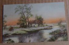 Postcard WW1 Art Card Luxograph River Scene Soldier Message Censor Stamp