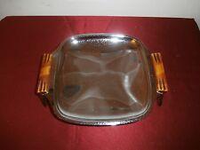 "Vintage Glo-Hill Gourmate Chrome Tray Bakelite Handles Mid-Century Modern 7"""