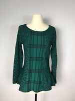 Antonio Melani Green and Black Geometric Print Long Sleeve Knit Top Women's S
