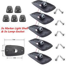 5pcs Smoke Lens Cab Roof Top Marker Running Lights Cover & Lamp-Socket Car Truck