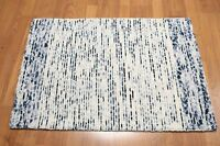 Accent Rug 100% Wool 2x3 Multi-use Textured Ivory Blue Area RUG Foyer Den Bath