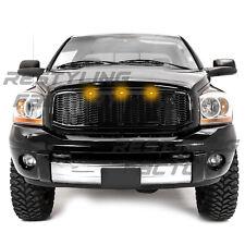 06-09 Dodge RAM Raptor Style Gloss Black Front Hood Mesh Grille+Shell+Amber LED