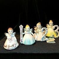 Set Of 4 Josef Birthday Angel Figurines New Baby - 3rd Birthday Dark Eyes