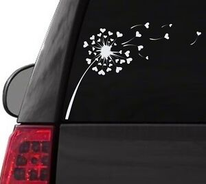 H144 DANDELION OF HEARTS BLOWING MAKE A WISH DECAL SURFACE CAR TRUCK SUV LAPTOP